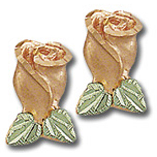 Landstrom's Black Hills Gold rose bud post earrings