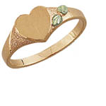 Landstrom's Black Hills Gold heart shaped signet ring