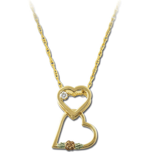 Landstrom's Black Hills Gold double heart diamond necklace