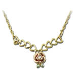 Landstrom's Black Hills Gold heart and rose diamond necklace