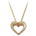 Landstrom's Black Hills Gold rose gold heart necklace