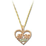 Landstrom's Black Hills Gold rose gold heart with flowers necklace