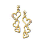 Landstrom's Black Hills Gold triple heart dangle earrings