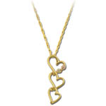 Landstrom's Black Hills Gold triple heart dangle necklace