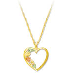 Landstrom's Black Hills Gold leaf and heart necklace