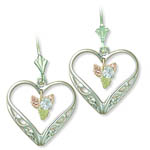 Landstrom's Black Hills Gold Sterling Silver Heart and Sapphire earrings