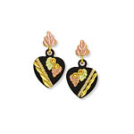 Landstrom's Black Hills Gold black enamel heart earrings