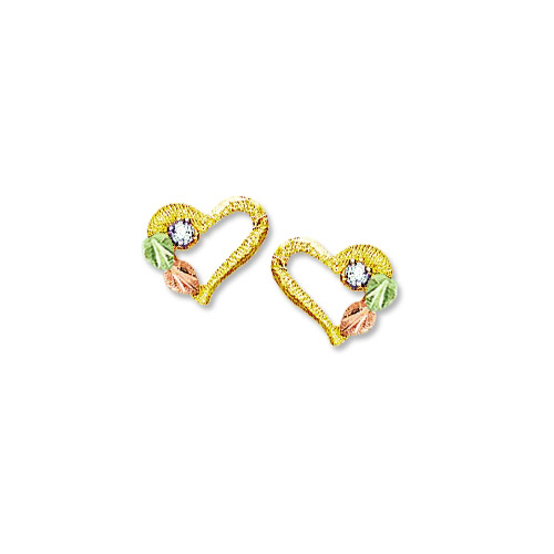 Landstrom's Black Hills Gold diamond and heart earrings