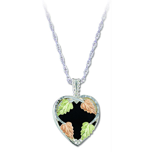 Landstrom's Black Hills Gold Sterling Silver Black Onyx heart necklace