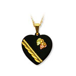 Landstrom's Black Hills Gold black enamel heart necklace