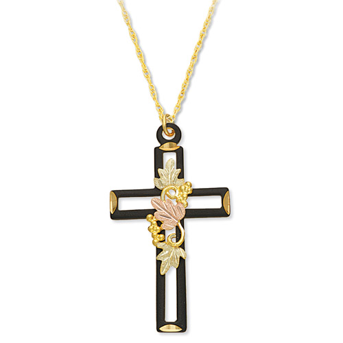 Landstrom's Black Hills Gold black enamel cross necklace
