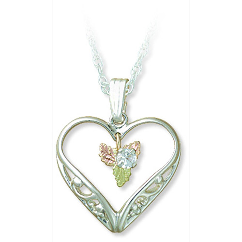 Landstrom's Black Hills Gold Sterling Silver sapphire heart necklace