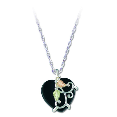 Landstrom's Black Hills Gold Black Onyx heart necklace