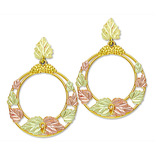 Landstrom's Black Hills Gold dangle hoop earrings