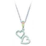 Landstrom's Black Hills Gold Sterling Silver double heart necklace