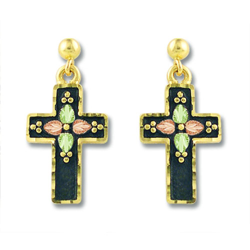 Landstrom's Black Hills Gold antiqued cross earrings
