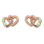 Landstrom's Black Hills Gold Rose Gold double heart earrings