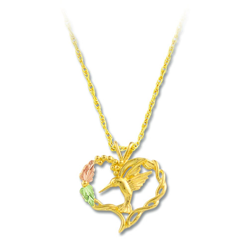 Landstrom's Black Hills Gold hummingbird and heart necklace