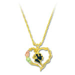 Landstrom's Black Hills Gold heart with antiquing necklace