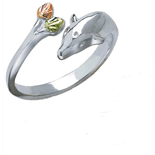Landstrom's Black Hills Gold Sterling Silver dolphin ring
