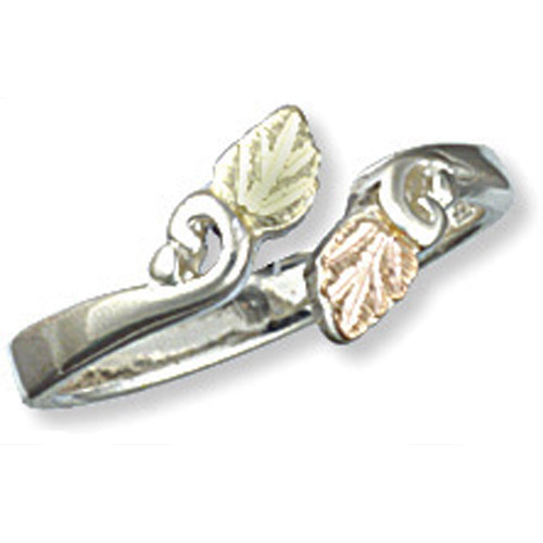 Landstrom's Black Hills Gold Sterling Silver leaf ring