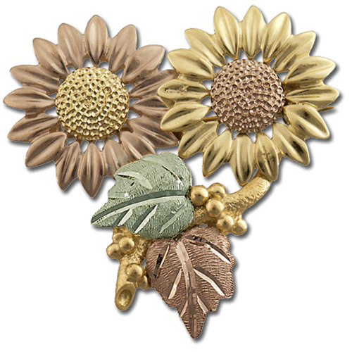 Landstrom's Black Hills Gold Sunflower brooch