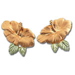 Landstrom's Black Hills Gold Hibiscus flower earrings