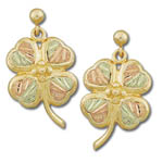 Landstrom's Black Hills Gold Four Leaf Clover earrings