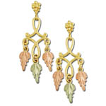 Landstrom's Black Hills Gold leaf dangle earrings