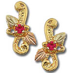Landstrom's Black Hills Gold ruby and leaf earrings