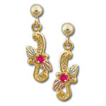 Landstrom's Black Hills Gold ruby and leaf dangle earrings