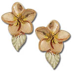 Landstrom's Black Hills Gold flower and leaf earrings