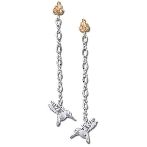Landstrom's Black Hills Gold Sterling Silver hummingbird dangle earrings