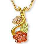 Landstroms Black Hills Gold Rose Necklace
