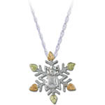 Landstrom's Black Hills Gold Sterling Silver snowflake necklace