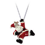 Landstrom's Black Hills Gold Enamel Santa Claus necklace