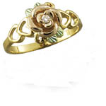 Landstrom's Black Hills Gold rose and diamond ring