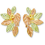 Landstrom's Black Hills Gold rose and green gold leaf earrings