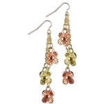 Landstrom's Black Hills Gold flower dangle earrings