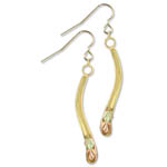 Landstrom's Black Hills Gold angled abstract dangle earrings