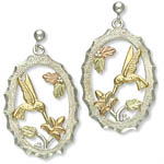 Landstrom's Black Hills Gold Sterling Silver hummingbird earrings