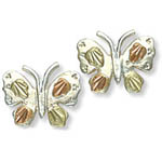 Landstrom's Black Hills Gold Sterling Silver Butterfly earrings