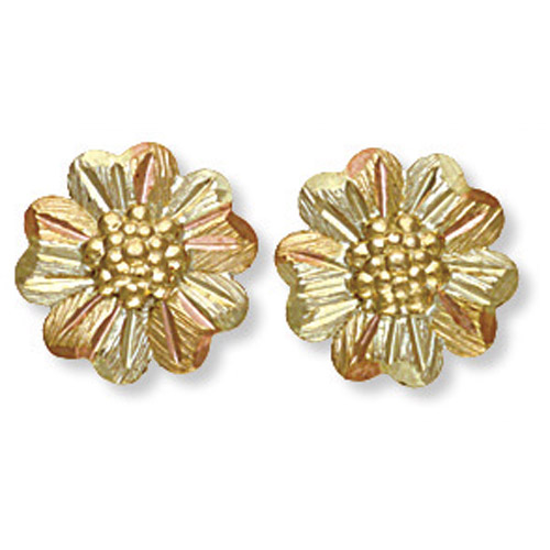 Landstrom's Black Hills Gold grape and leaf flower earrings