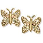 Landstrom's Black Hills Gold filigree butterfly earrings