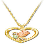 Landstroms Black Hills Gold rose blossom in heart necklace
