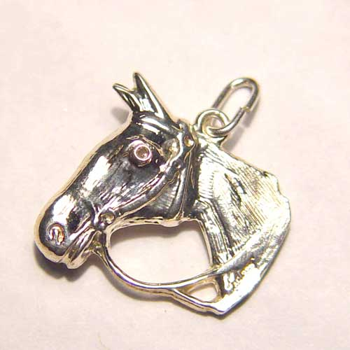 Sterling Silver horse head in bridle charm/pendant