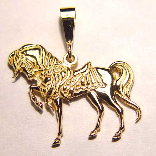 gold 3D prancing charger pendant