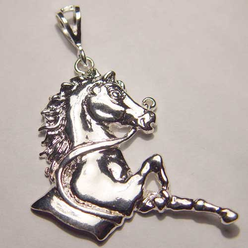 Sterling Silver longing horse charm/pendant