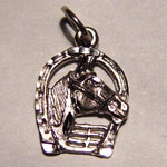 white gold horse head behind fence pendant