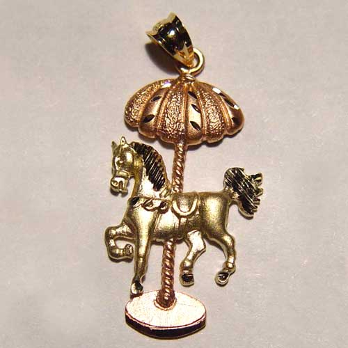 yellow and rose gold carousel horse pendant
